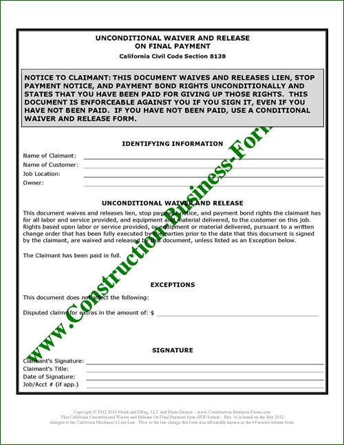 California Unconditional Upon Final Lien Waiver Release 4