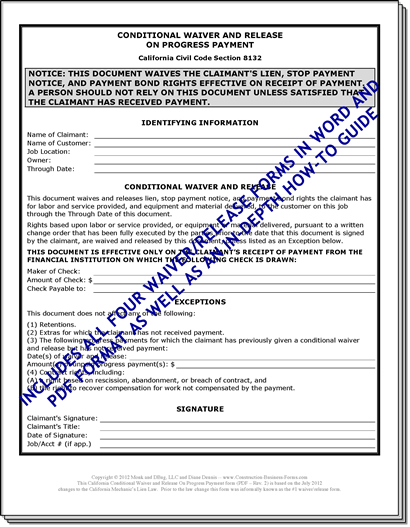 All Four New July 2012 California Lien Waiver Release Forms Plus