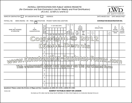 Certified Payroll Form. Contractor Certified Payroll Form