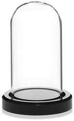 "Glass Dome w/Black Acrylic Base 1.875"" x 3.5"""
