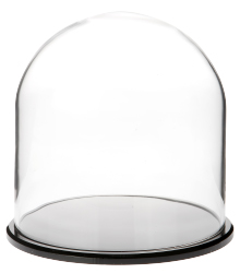 "Glass Dome with Black Acrylic Base - 8"" x 8"""
