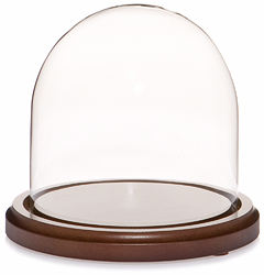 "Glass Dome with Walnut Base - 5.5"" x 5.5"""