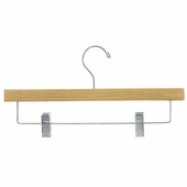 14in. Pant/Skirt Wood Hanger w/ Chrome Hooks and Bar w/ Clips Natural