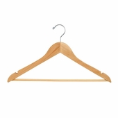 17in. Flat Hanger w/ Chrome Hook and Wooden Bar