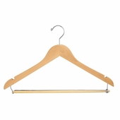 17in. Flat Hanger w/ Chrome Hook and Wooden Lock Bar on Spring