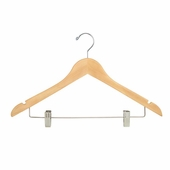 17in. Wishbone Hanger w/ Chrome Hook and Metal Bar w/ Clips Natural