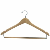 17in. Wishbone Hanger w/ Chrome Hook and Wooden Lock Bar on Spring Natural