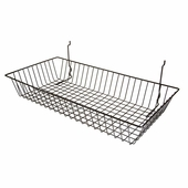 24in.W x 12in.D x 4in.H All-Purpose Shallow Wire Basket Black