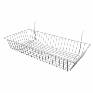 24in.W x 12in.D x 4in.H All-Purpose Shallow Basket White