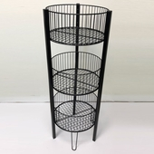 3-tier Round Wire Dump Bin Black