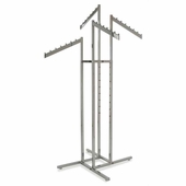 4-Way Clothing Rack w/ Slanted Flag Arms - Square Tubing