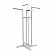 4-Way Clothing Rack w/ Straight Arms - Rectangular Tubing