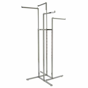 4-Way Clothing Rack w/ Straight Arms - Square Tubing
