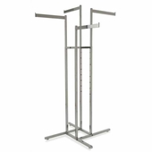 4-Way Clothing Rack w/ Straight Flag Arms - Square Tubing