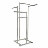 4-Way Hi-Capacity Clothing Rack w/Straight Arms - Rectangular Tubing