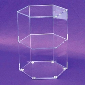 Acrylic Hexagonal Open 2 Shelf Display