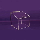 Angled Acrylic Box with Hinged Lid Medium