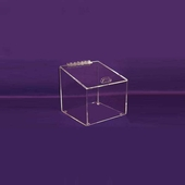 Angled Acrylic Box with Hinged Lid Small