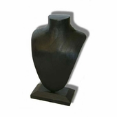 Elongated Wood Jewelry Bust Black