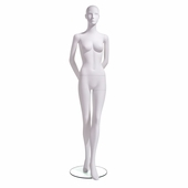 Female Mannequin Abstract Head Facing Straight, Arms Behind Back, Left Leg Slightly Forward
