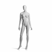 Female Mannequin Arms by Side, Turned at Waist, Right Leg Forward Slate Grey