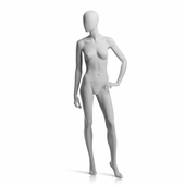 Female Mannequin Left Hand on Hip, Left Leg Forward Slate Grey