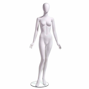 Female Mannequin Oval Head Facing Straight, Arms at Side, Right Leg Slightly Bent