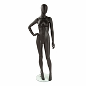 Female Mannequin Right Hand on Hip, Legs Slightly Bent Matte Black