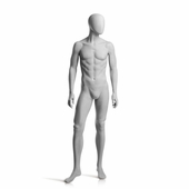 Male Mannequin Arms at Side, Right Leg Slightly Bent Slate Grey