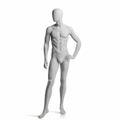 Male Mannequin Left Hand on Hip, Right Leg Forward Slate Grey