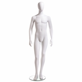 Male Mannequin Oval Head Facing Straight, Arms at Side, Right Leg Slightly Bent
