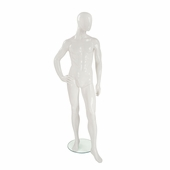 Male Mannequin Right Hand on Hip, Left Leg Slightly Bent Gloss White