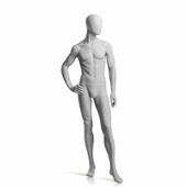 Male Mannequin Right Hand on Hip, Left Leg Slightly Bent Slate Grey