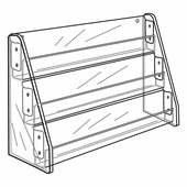 Quick Ship Acrylic 3 Shelf Card Rack