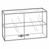 Quick Ship Acrylic Locking Double Door 1 Shelf Showcase
