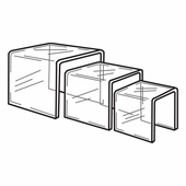 Quick Ship Clear Acrylic Square Large Risers Set of 3