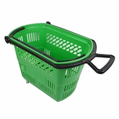 Shopping Basket on Wheels with Pull Handle Green
