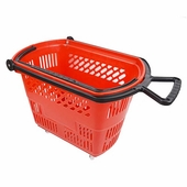 Shopping Basket on Wheels with Pull Handle Red