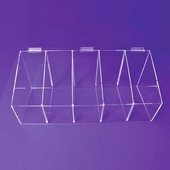Slatwall Acrylic Divided Bin Display 12x30x12