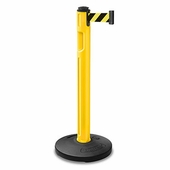 Tempest Portable Stanchion Post Yellow With Plastic Fillable Base