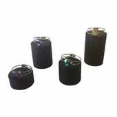 Wood 4 pc Round Stands Black