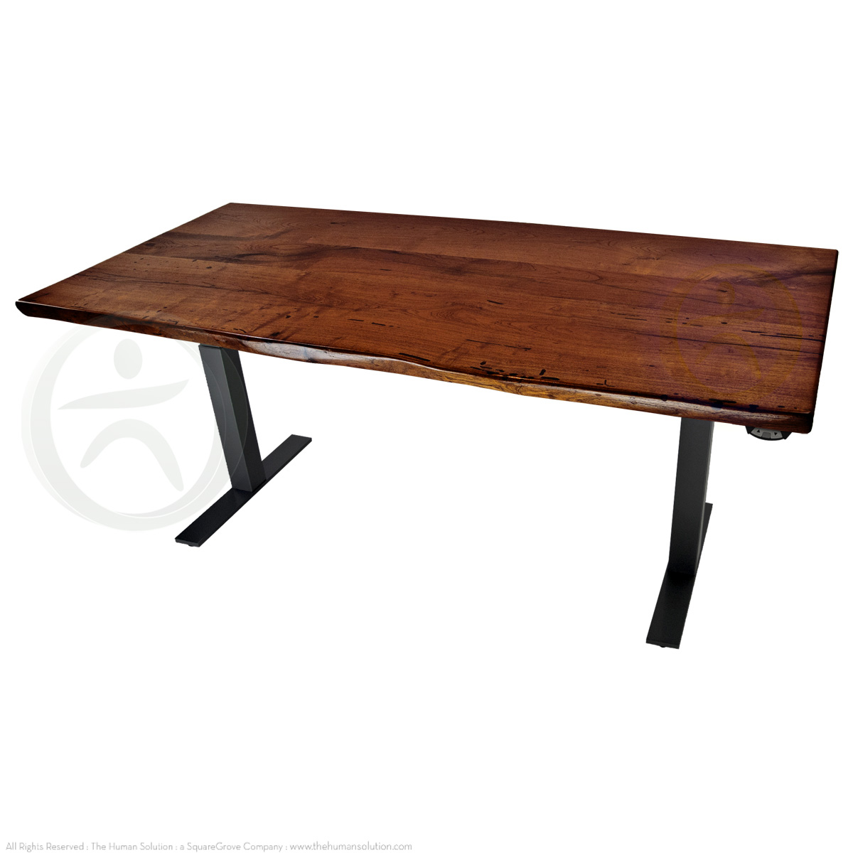 Shop uplift 800 mesquite solid wood electric sit stand desk for Motorized sit stand desk