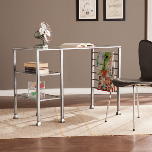 Metal/Glass Writing Desk - Distressed Silver