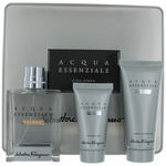 Acqua Essenziale Colonia by Salvatore Ferragamo, 3 Piece Gift Set for Men in Metal Box