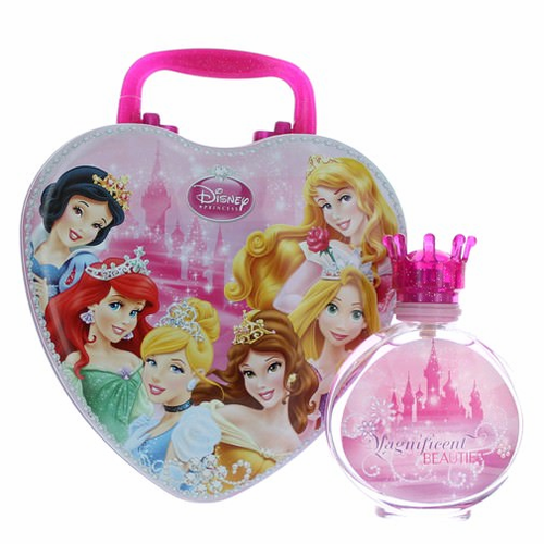 Disney Princess Magnificent Beauties by Air-Val International, 3.4 oz Eau De Toilette Spray for Girls with Metal Lunch Box