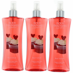 Red Velvet by Body Fantasies, 3 Pack 8 oz Fragrance Body Spray for Women