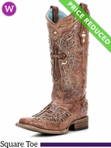10C Women's Circle G by Corral Bone Inlay Cross Boots C2856 CLEARANCE
