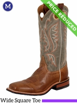 12 EE Justin Boots Mens Bent Rail Tan Arizona Cowhide Boots BR354 CLEARANCE