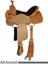 """** SALE ** 12"""" to 16"""" Circle Y Chocolate Suede All Around Saddle 2726 w/Free Pad"""