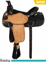 "16"" American Saddlery Lexie Collection Barbwire Roughout Roper Saddle 603"